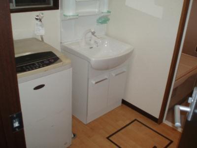 シャワー付洗面化粧台と洗濯機床下にも収納スペース