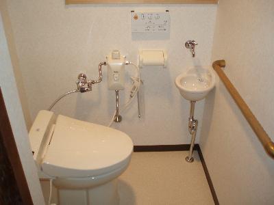 簡易水洗式洋便器に変更して手摺も付けました。トイレが狭いのでタンクが無いタイプです。